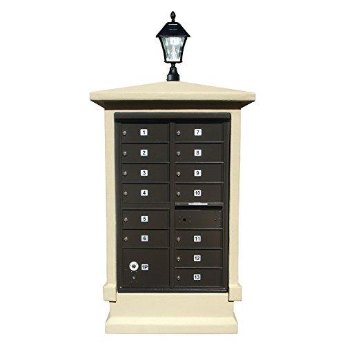 Qualarc EVMC-SHRT-SS-SL Eastview Stucco CBU Mailbox Center, Short Pedestal Column Only with Bayview Solar Lamp, Sandstone Color ()