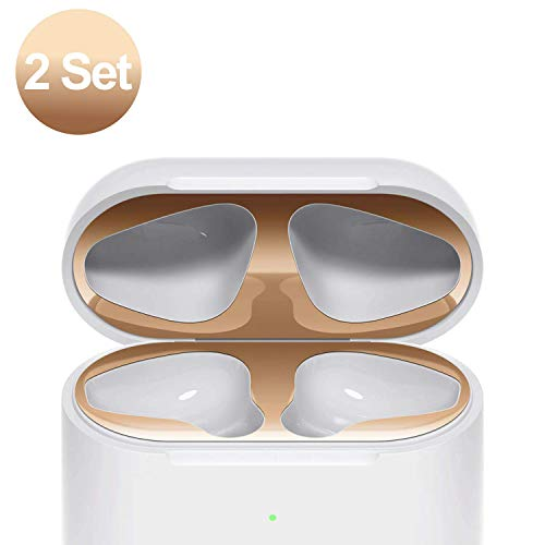 [2 Set] SHARKSBox Dust Guard for AirPods 2 Wireless Charging Case[Lifetime Replacements]Protect AirPods from Iron/Metal Shavings [Easy to Install] Upgrade Ultra Thin AirPods Dust-Proof Film-Rose Gold ()