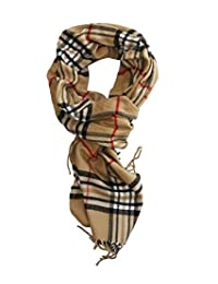 MINAKOLIFE Classic Cashmere Feel Winter Scarf in Rich Plaids (beige)