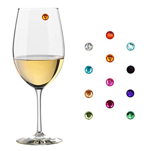 Crystal Magnetic Wine Glass Charms, Wine Glasses Markers, Drink Markers, Wine Charms for Stemless Glasses, Champagne Glasses, Beer and Cocktail Glasses – (Gift Box Included) Pack of 12 - Magnetic Crystal