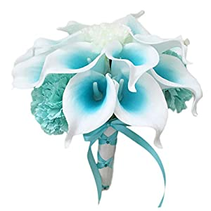 """Lily Garden Mini 15"""" Artificial Calla Lily 16 Stem Flower Bouquets with Ribbon (Turquoise with Carnation) 32"""