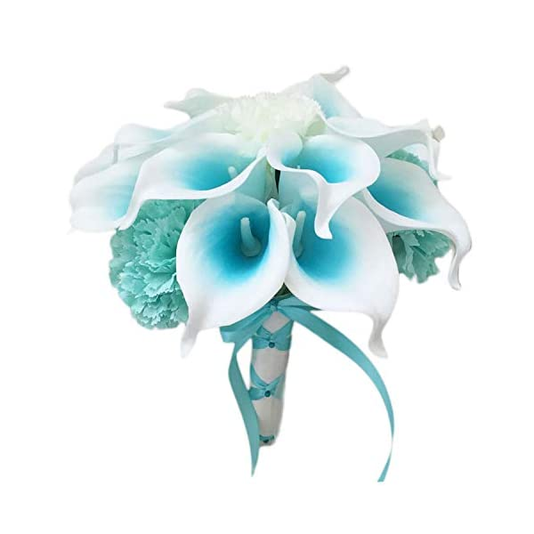 Lily Garden Mini 15″ Artificial Calla Lily 16 Stem Flower Bouquets with Ribbon (Turquoise with Carnation)