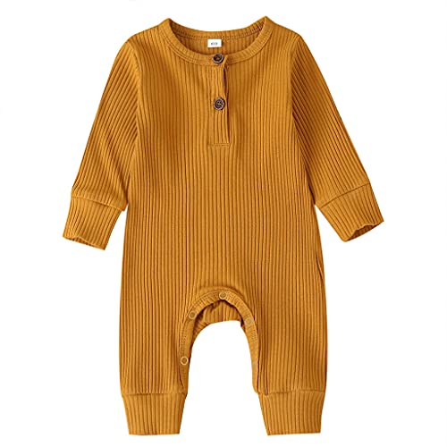 Baby boy clothes 9-12 months winter fall ribbed onesies outfits baby girls long sleeve rompers jumpsuits basic plain solid color