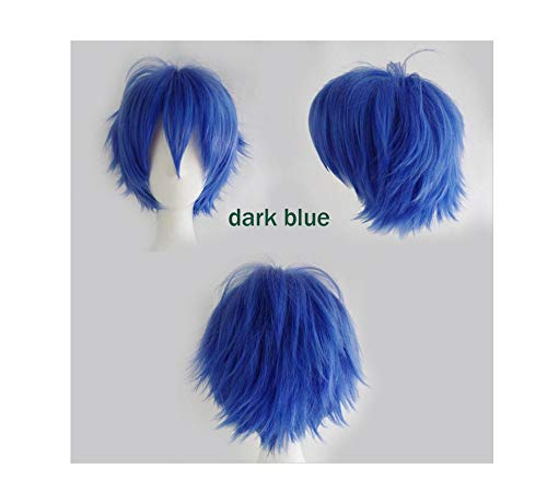 Black White Purple Red Short Hair Cosplay Wig Male Party 30 Cm High Temperature Fiber Synthetic Hair Wigs,Dark Blue,12inches]()
