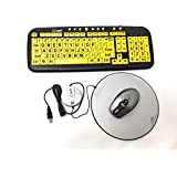 EZSee Large Print Keyboard by DC - Yellow Keys with Black Letter Keyboard Bundled With Wireless Mouse & Magic Pad (Certified Refurbished)
