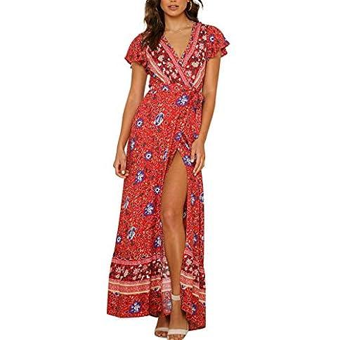 - 412A0hJkcmL - Women's Boho V Neck Wrap Vintage Floral Print Short Sleeve Split Flowy Beach Party Maxi Dress Red S