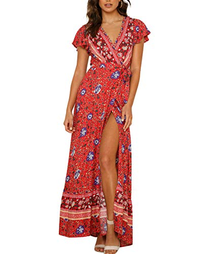 - Century Star Women's Floral Print Wrap V Neck Maxi Dress Short Sleeve Split Flowy Boho Beach Long Dress Red Medium