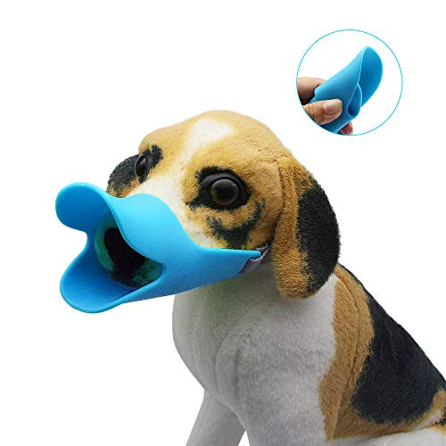 - YAODHAOD Dog Mouth Cover Duck Mouth Shape Anti-bite Muzzle Mask Anti-Call Mask Silicone Material (L, Blue)