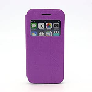 Birdnestoffice TPU + PU Leather S-View Phone Flip Case Cover Skin Protector for iPhone 6 Case- Purple