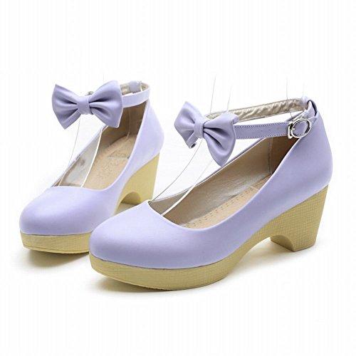 Latasa Womens Fashion Cute Bow Ankle-strap Chunky Heel Platform Pumps Shoes Purple FZbodv