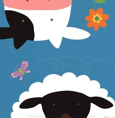Yuko Farm Lau - Farm Group: Cow and Sheep by Yuko Lau - 12x12.25 Inches - Art Print Poster