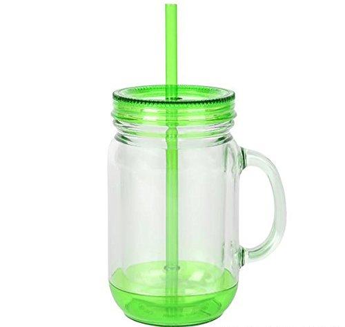 (DollarItemDirect 16oz GREEN LID MASON JAR WITH SWIRL STRAW, Case of)