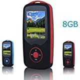 FecPecu Music Player, 8GB Bluetooth MP3 Player Hi-Fi Sound 50 Hours Playback, Portable Audio Player Expandable Up to 64GB (Red)