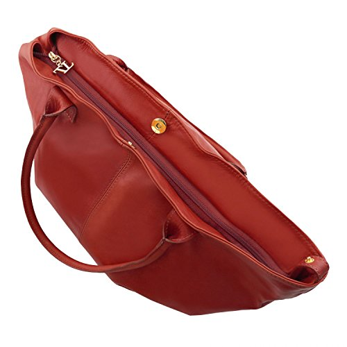 Leather Dark Red Lady Tl Bag Woman Tuscany Taupe Brown Leather Keyluck q4xwFZI
