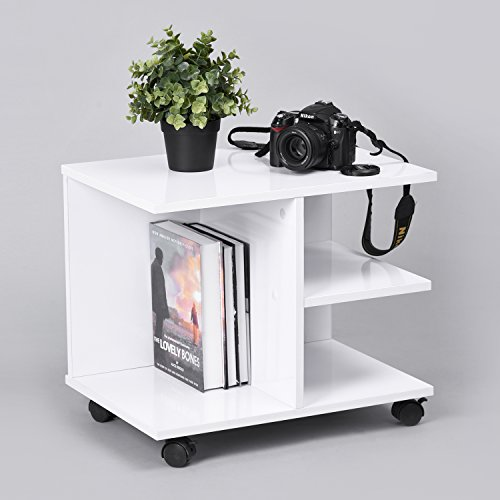 Veneer Plant Stand (GreenForest Modern Bedside End Table, Nightstand with Storage Shelf and Lockable Wheel for Bedroom, White)