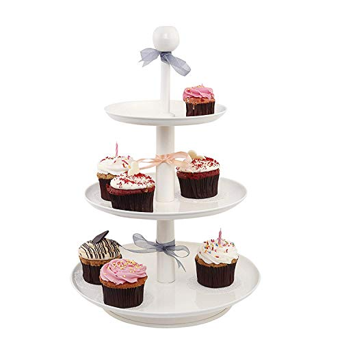 ELAN Knob 3 Tier Stacked Cake Cupcake and Dessert Stand for Birthday Party (Off White) Price & Reviews