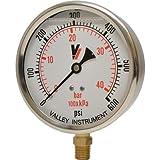 Valley Instrument Grade A 4in. Stem Mount Glycerin Filled Gauge - 0-600 PSI