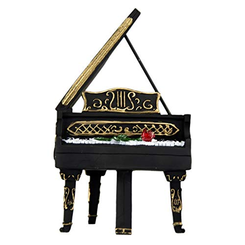 Oh Trendy Decorative Piano with Rose Detail Paper Weight, Coin Holder Piggy Bank, 5.8 Inches, Black, Bronze, Multi