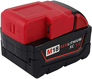 eshopcity Adaptateur de Convertisseur Usb Compatible avec La Source Dalimentation de La Batterie Lithium-Ion Milwaukee 49-24-2371 M18
