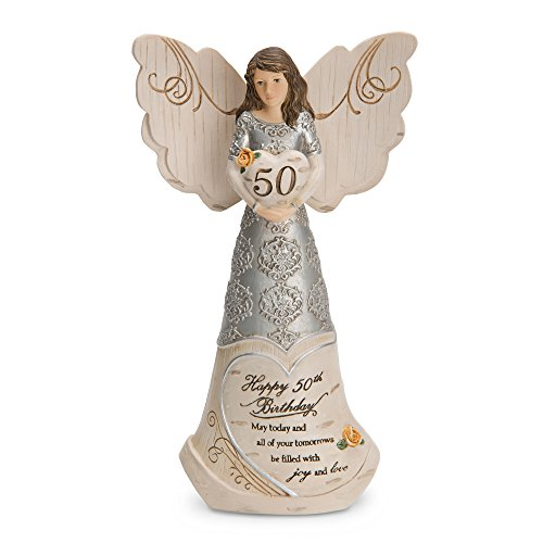 Pavilion Gift Company 82414 Elements Happy 50th Birthday May Today and All of Your Tomorrows be Filled with Joy and Love 6 Inch Angel Figurine (Best Birthday Gifts For Mom 50th Birthday)