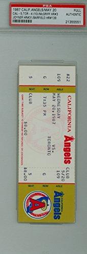 (1987 California Angels Full Ticket vs Toronto Blue Jays Fred McGriff Career HR #3 Wally Joyner HR #31 Jesse Barfield HR #139 - May 20, 1987 by Mickeys Cards)