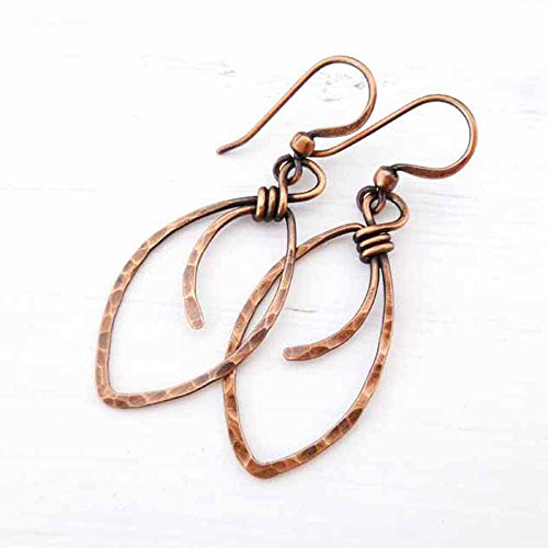 Hammered Copper Earrings marquis-shape wire wrapped handmade - Marquis Salt