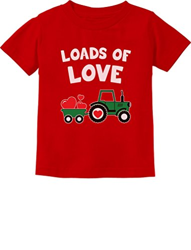 Loads of Love Valentine's Gift Tractor Loving Toddler/Infant Kids T-Shirt 3T Red