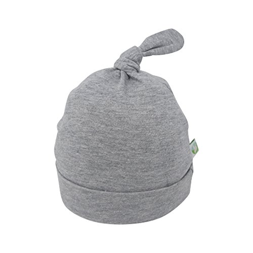 Handmade Baby Hats - Bum Chicoo Unisex Organic Cotton Baby Knotted Hats- Hand Made Soft Cute Adjustable Stretchy Top Knot Cap (Grey, 0-3 Months)