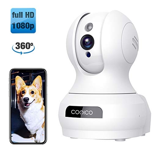 【2019 New】 Wireless Security Camera, 1080P HD WiFi Baby Monitor, Pan/Tilt/Zoom IP Camera for Baby/Elder/Pet/Nanny Monitor Night Vision Motion Detection 2-Way Audio Cloud Service Available ()