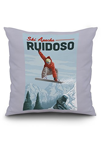 Apache Barrel - Lantern Press Ski Apache, New Mexico - Snowboarder Jumping (20x20 Spun Polyester Pillow, Custom Border)
