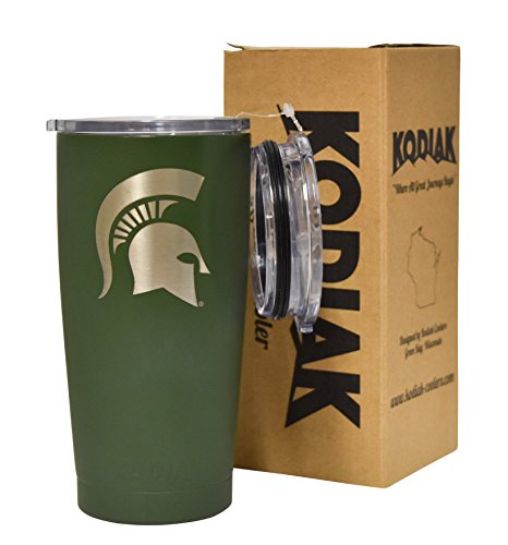 Michigan State Spartans (Green) NCAA Engraved Vacuum Insulated Tumbler Two Lids Kodiak Coolers - Stainless Steel Double Wall - Thermal Coffee Travel Cup Rambler Yeti - Ice Over 24 Hours (20 oz)