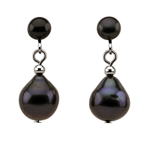 Black Freshwater Cultured Pearl Clip on Earrings 5-10 mm