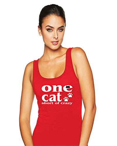 Hot Ass Tees Womens Fitted One Cat Short Of Crazy Funny Novelty Tank Top Red SMALL
