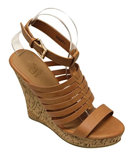 Betani Violet-1 women's open toe cork platform wedge strappy slingback ankle strap sandals Camel 10