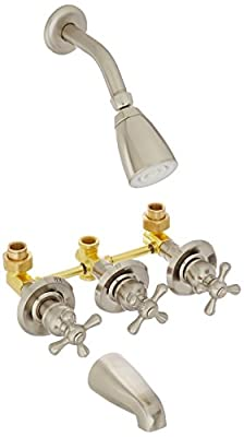 Kingston Brass KB231AX Tub and Shower Faucet with 3-Cross Handle