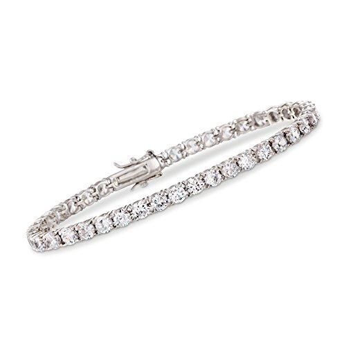 (Ross-Simons 10.00-11.50 ct. t.w. CZ Tennis Bracelet in Sterling Silver)