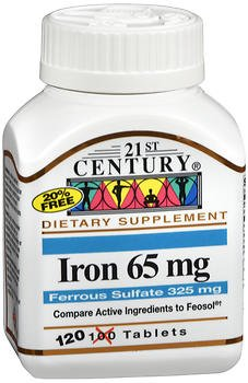 21st Century Iron 65 mg with Ferrous Sulfate 325 mg - 100 Tablets, Pack of ()