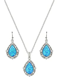 Lace Teardrop Opal Jewelry Set(JS3807)