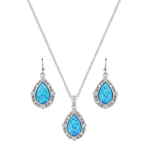 - Montana Silversmiths River of Lights Latticed Opal Teardrop Jewelry Set