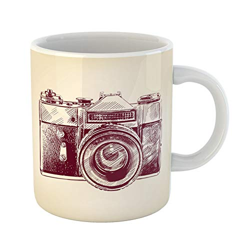 Emvency Coffee Tea Mug Gift 11 Ounces Funny Ceramic Sketch Vintage Old Camera Drawn Llustration Photography Gifts For Family Friends Coworkers Boss Mug ()
