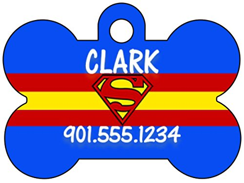 uDesignUSA Superman Dog Tag Pet Id Tag Personalized w/Name & Number -