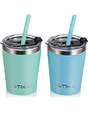 Kids & Toddler Cups - Stainless Steel Tumbler Spill Proof Insulated Cup with Leak Proof Lids & Silicone Straws with Stoppers - BPA FREE Vacuum Smoothie Cup Stackable Baby Drinking Tumblers
