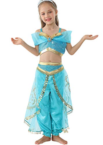 Dressy Daisy Girls Princess Jasmine Dress Up Costumes Halloween Party Fancy Dress Size 14]()
