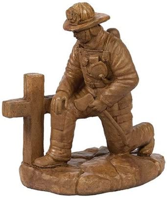 Solid Rock Stoneworks Kneeling Fireman at Cross Stone Statue 19in Tall Autumn Wheat Color