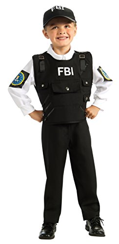 Letter E Fancy Dress Costumes (Young Heroes FBI Agent Costume, Small)