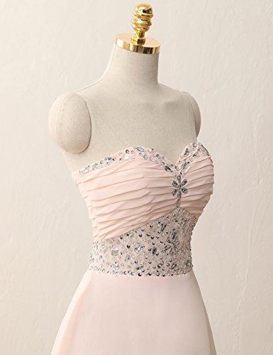 Ballkleider Abendkleid Partykleid Linie A Hellrosa Chiffon Cocktailkleider Kurz Brautjungfernkleid rrfZnx