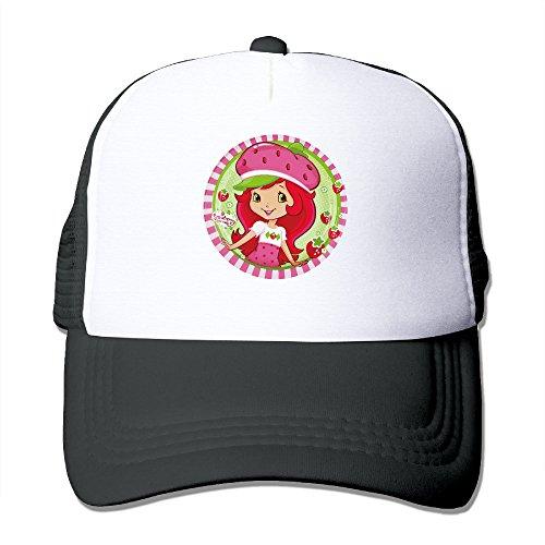 Adult Strawberry Shortcake Pink Girl Graphic Truckerhats Sport Outdoor Mesh Baseball Cap Black (Strawberry Shortcake Hat)