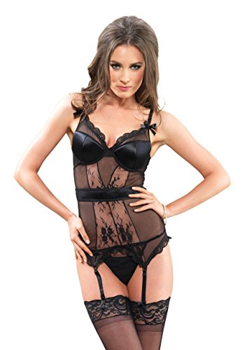 Leg Avenue Women's Vixen Mesh Lace Padded Underwire Cami Garter and Thong, Black, Large ()