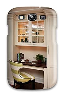Galaxy Cover Case - Kitchen Built-in Desk With Striped Chair Protective Case Compatibel With Galaxy S3