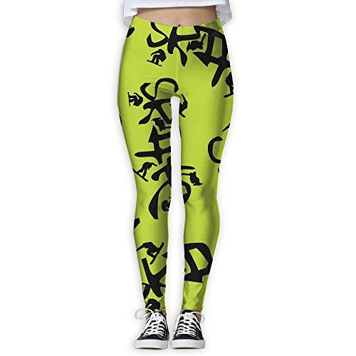 JCOE Yoga Skateboard Printed Women Stretchy Workout Running Yoga Pants Leggings Trousers
